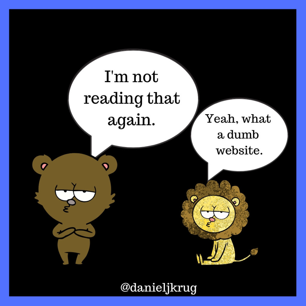 Dumb website cartoon