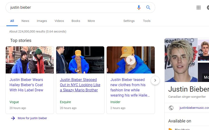 Justin Bieber random search